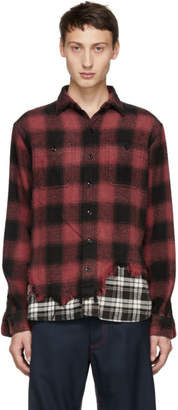 R 13 Black and Red Check Tattered Hem Shirt