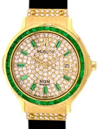 "Hublot Classic Elegance"" 18K Yellow Gold Emerald & Diamond Pavé Strap Watch"