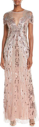 Jenny Packham Short-Sleeve Beaded Tulle Evening Gown