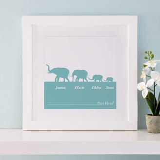 Cherry Pete Personalised Herd Of Elephants Family Print