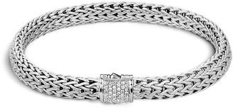John Hardy Diamond silver small woven chain bracelet