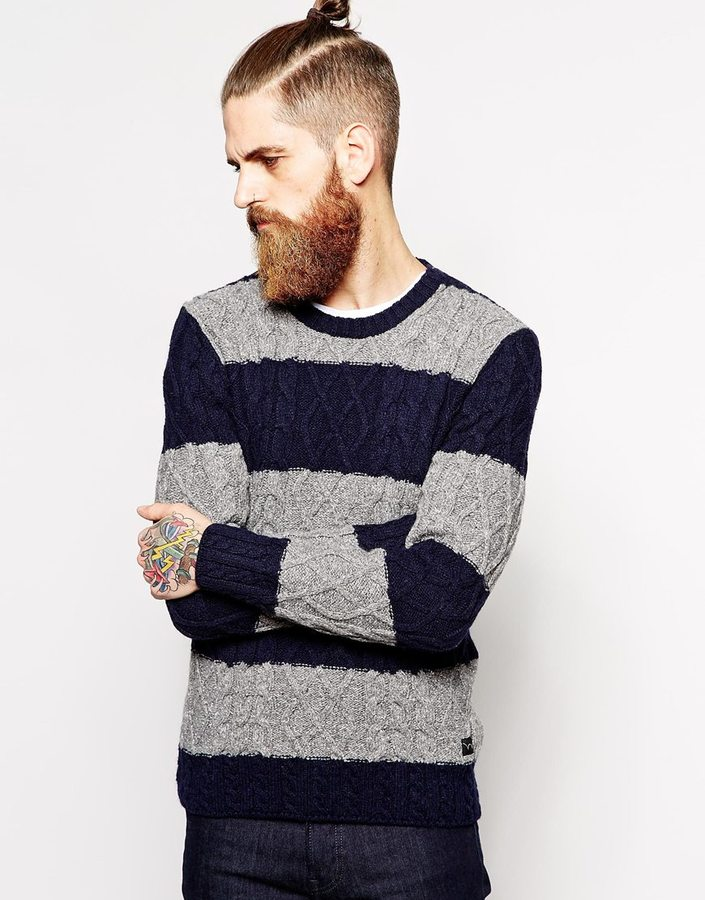 Edwin Crew Neck Jumper Cable Stripes Knit