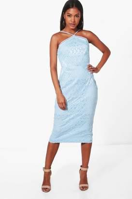 boohoo Strappy Lace Panelled Midi Bodycon Dress