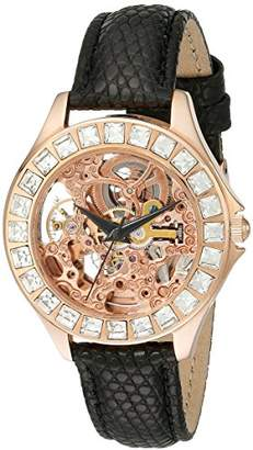 Burgmeister Merida Women's Automatic Watch with Pink Dial Analogue Display and Black Leather Strap BM520-302