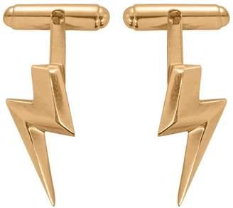 Lightning Bolt Edge Only - 3D Flat Top Cufflinks In Gold