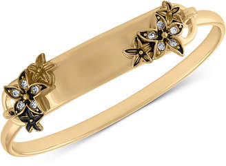 Rachel Roy Gold-Tone Pave Flower Id Bangle Bracelet