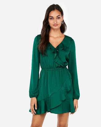 Express Ruffle Elastic Waist Wrap Dress