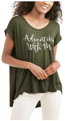 American High RTV-Women's Short Sleeve V-neck Oversized Fit Graphic T-Shirt with Front Pocket