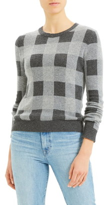 Theory Plaid Crewneck Cashmere Sweater