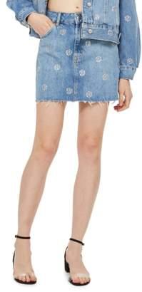 Topshop Diamante Polka Dot Nonstretch Denim Skirt