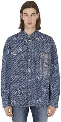 a42d41c7 Diesel Logo Jacquard Cotton Denim Shirt