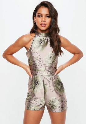 Missguided Pink Jacquard Floral Print High Neck Romper