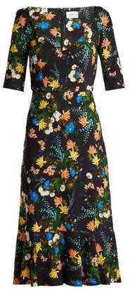 Erdem Glenys Mariko Meadow Print Jersey Midi Dress - Womens - Black Multi