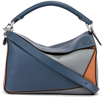 Loewe Puzzle Small Bag in Steel Blue & Tan | FWRD