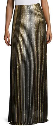 Balmain Metallic Striped Long Skirt