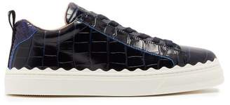 Chloé Lauren Scalloped Edge Leather Trainers - Womens - Navy