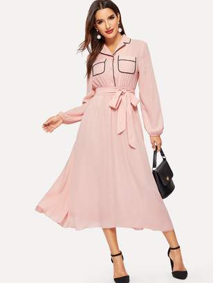 Shein Button Front Pocket Patched Belted Shirt Dress
