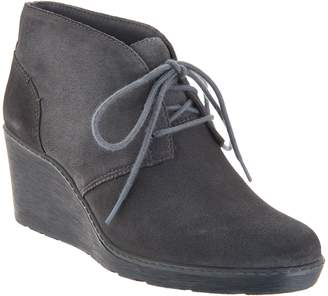 Clarks Suede Lace-Up Wedge Booties - Hazen Charm