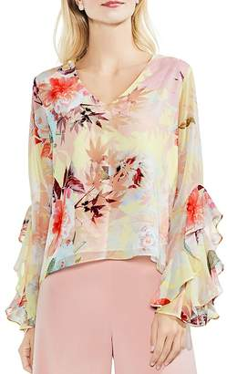 Vince Camuto Faded Bloom Ruffle Bell Sleeve Blouse