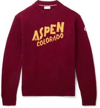 Moncler Intarsia Wool-Blend Sweater - Men - Burgundy