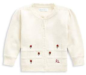 Ralph Lauren Baby Girl's Rose Embroidered Wool Cardigan Sweater