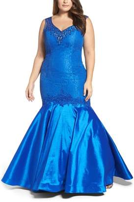 Mac Duggal Taffeta Mermaid Gown