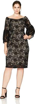 Adrianna Papell Women's Plus Size Juliet Lace Off-Shoulder Sheath Dress