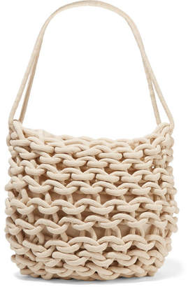 Alienina Woven Cotton Shoulder Bag - Off-white