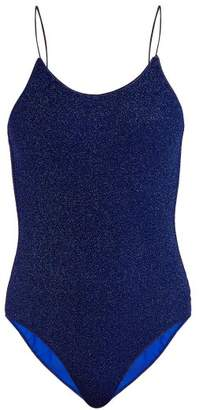 Oseree Lumiere Metallic Glitter Swimsuit - Womens - Blue