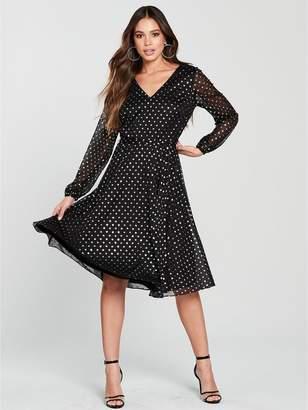 Wallis Gold Foil Spot Midi Dress