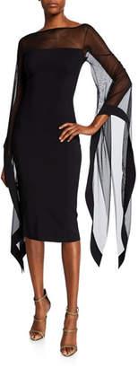 Chiara Boni High-Neck Sheer Wing-Sleeve Cocktail Dress