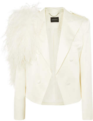 Magda Butrym Lubeck Feather-trimmed Silk And Wool-blend Blazer - Cream