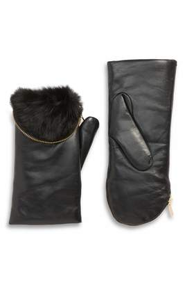 ARISTIDE Genuine Rabbit Fur Lined Lambskin Leather Zip Mittens