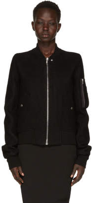 Rick Owens Black Wool Flight Bomber Jacket