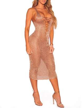 FOUNDO Women Sexy Lace up V Neck Tank Dress Bikini Swimsuit Beach Cover Ups Rose Gold M