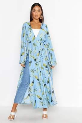 boohoo Pineapple Palm Print Kimono