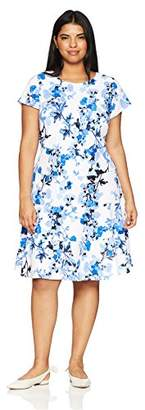 Jessica Howard Women's Plus Size Fit and Flare Dress with Seamed Skirt