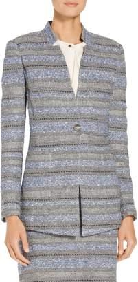 St. John Heathered Stripe Boucle Tweed Knit Jacket