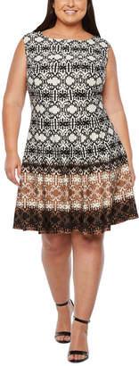 Danny & Nicole Sleeveless Ombre Print Fit & Flare Dress- Plus