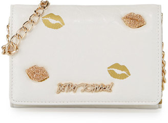 Betsey Johnson Sugar Lips Embossed Wallet-On-Chain Bag, Cream $60 thestylecure.com