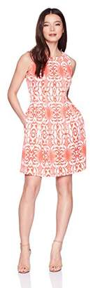 Gabby Skye Women's Petite Aztec Printed a-Line Dress
