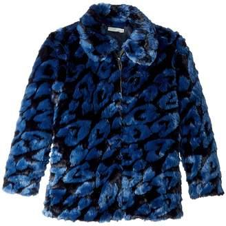 Stella McCartney GAIA Leopard Faux Fur Full Zip Jacket Girl's Coat