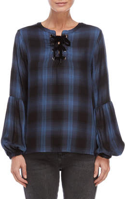 philosophy Plaid Lace-Up Balloon Sleeve Top