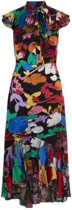 Alice + Olivia Greta Ruffle Hem Midi Dress