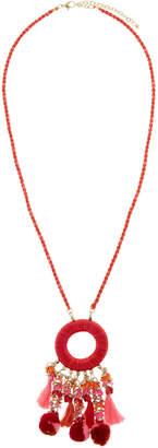 Panacea Circle Pompom & Tassel Necklace
