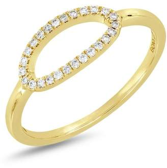 Bony Levy 18K Yellow Gold Diamond Detail Open Oval Ring - 0.10 ctw