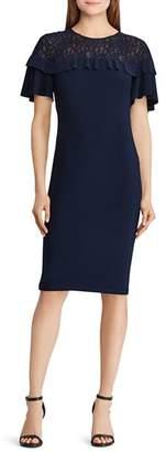 Ralph Lauren Lace-Inset Ruffled Dress