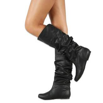 V-DOTE Womens Ladies Knee High Boots Soft Leather Wide Calf Sexy Mid Calf Boots Long Riding Boots Flat Slouch Boots Grey Brown Sizes 5.5-10