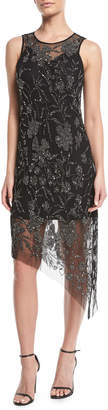 Neiman Marcus Parker Black Danica Sleeveless Dress w/ Sparkle Overlay