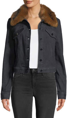 Elie Tahari Meggy Denim Jacket w/ Faux-Fur Collar